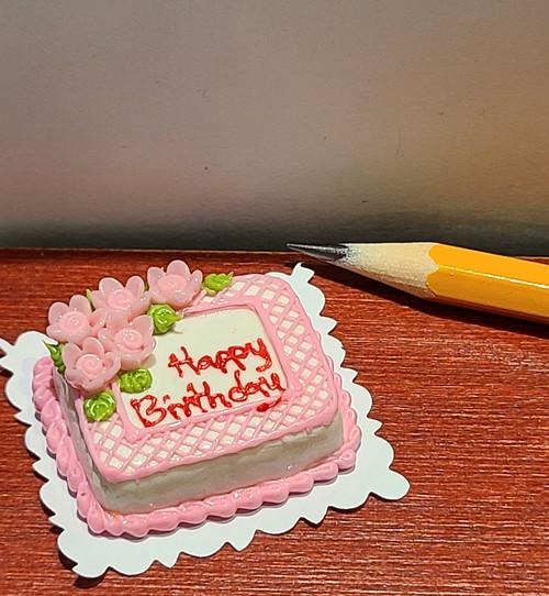 1/12 Scale Fancy Decorated Cake -Birthday Slab Cake