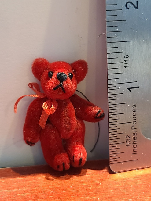 "Miniature Red Teddy Bear -1 3/8"" Tall"