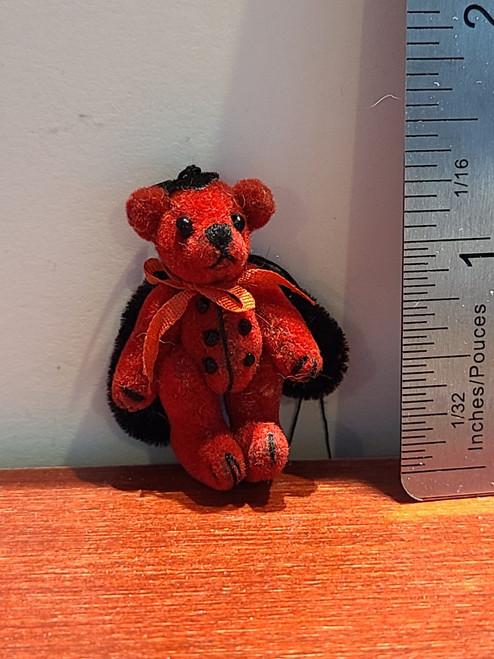 "Miniature Ladybug Teddy Bear -1 3/8"" Tall"