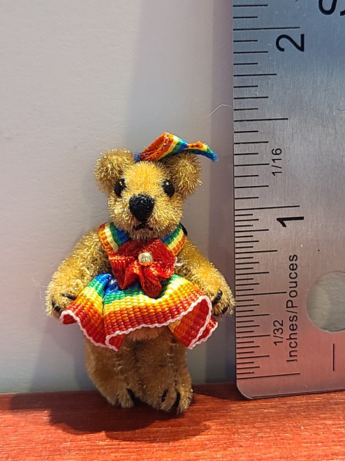"Miniature  Teddy Bear in Rainbow Dress -1 1/2"" Tall"
