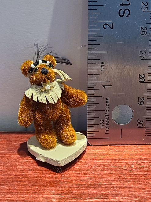 "Miniature  Native Teddy Bear  -1 1/2"" Tall"