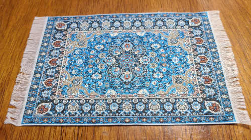 "Blue Tones 1/12 Scale  Miniature Area Rug 3 7/8"" x 6 1/2"""