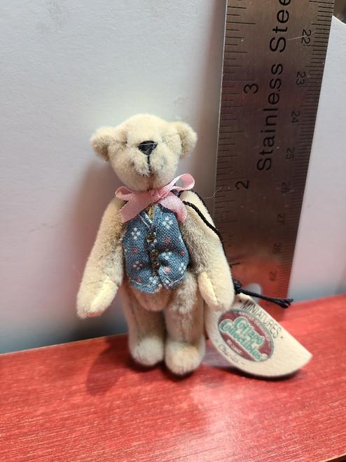 "Miniature  Teddy Bear in Blue Vest -2 3/4"" Tall"