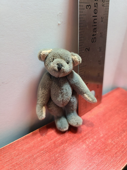 """Handcrafted Miniature  Grey Teddy Bear -2 1/4"""" Tall (Signed)"""