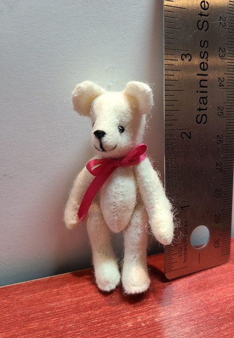 """Handcrafted Miniature White Teddy Bear -2 3/4"""" Tall"""