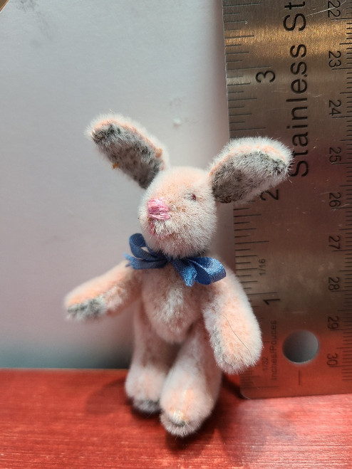 """Handcrafted Miniature Pink Bunny - 2 1/2"""" Tall"""