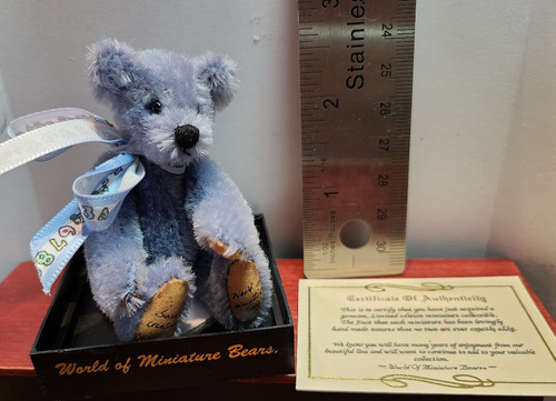 Miniature  Fuzzy Blue Bear
