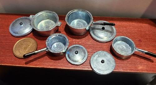 *8 Piece Metal Pot & Pan Set - 1/12 Scale