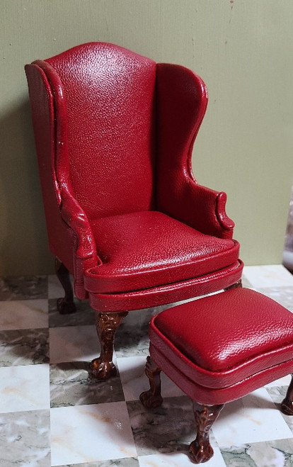 *1/12 Scale Leather Look Wing Back Chair & Stool