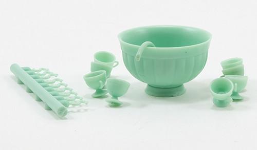 1/12 Scale Miniature Jadeite Punch Bowl Set