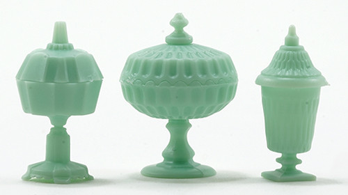 1/12 Scale Miniature Jadeite Set of 3 Candy Dishes with Lids