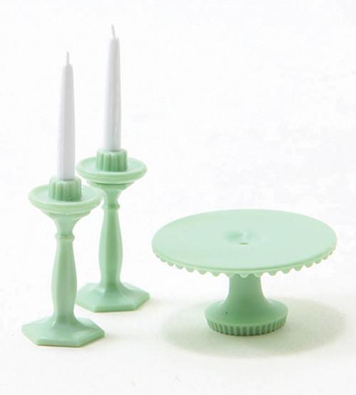 1/12 Scale Miniature Jadeite Cake Plate and Candelsticks