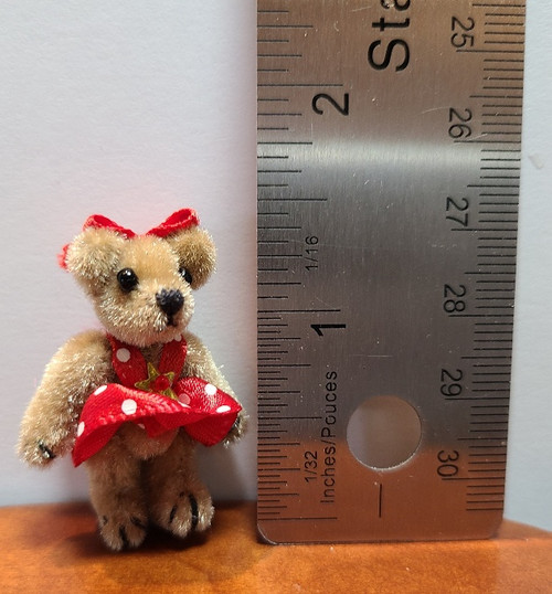 """Teddy in Red Polka Dotted Dress - 1 1/2"""" high"""