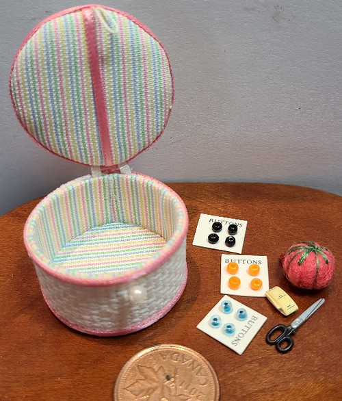 1/12 Scale Filled Sewing Basket