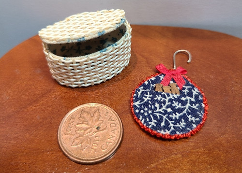 1/12 Scale Wicker Basket & Filled Clothespin Holder