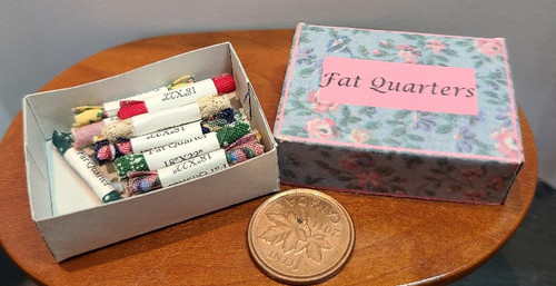 1/12 Scale Box Filled With Fabric Fat Quarters