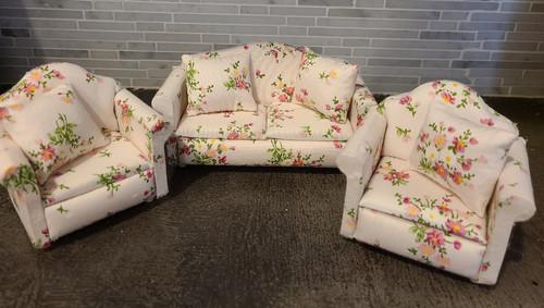 1/12 Scale Miniature Flowered Living Room Set