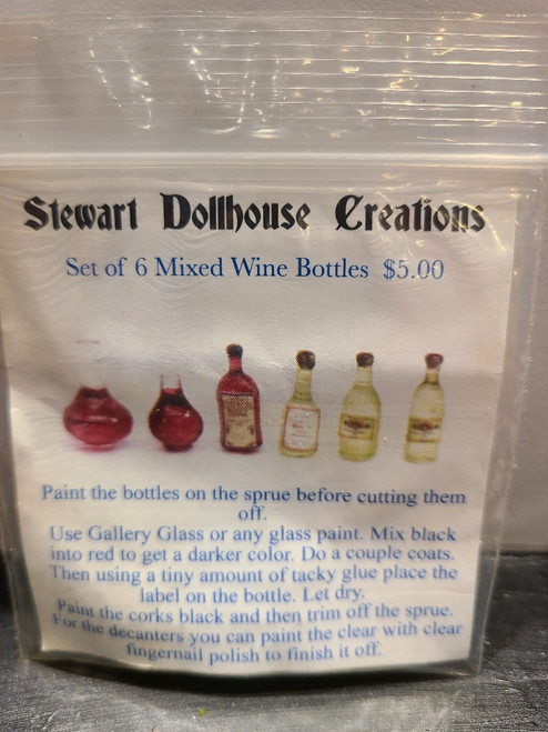 """1/4"""" Scale (1/48) Set of 6 Mixed Wine Bottles by Stewart Dollhouse Creations"""