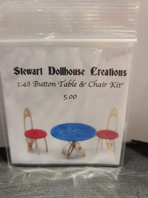 """1/4"""" Scale (1/48) Button Table & Chair Kit by Stewart Dollhouse Creations"""