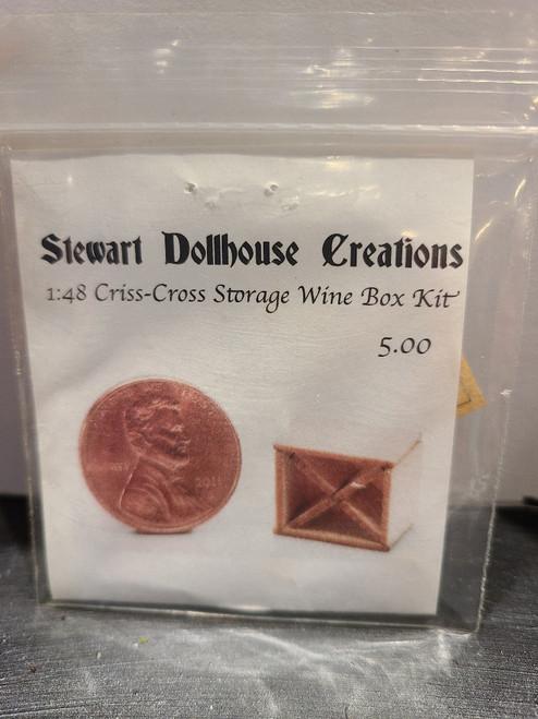 "1/4"" Scale (1/48) Criss-Cross Storage Wine Box Kit by Stewart Dollhouse Creations"