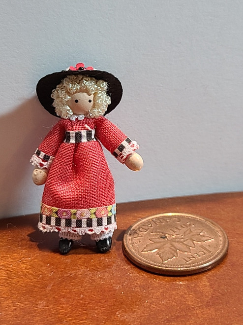 """1/4"""" Scale (1/48) Lady in Red Doll (1 3/16"""" high)"""