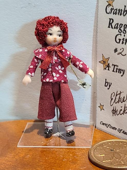 "1/4"" Scale (1/48) Ethel's Angel Children Doll - Cranberry Raggedy Girl #2"