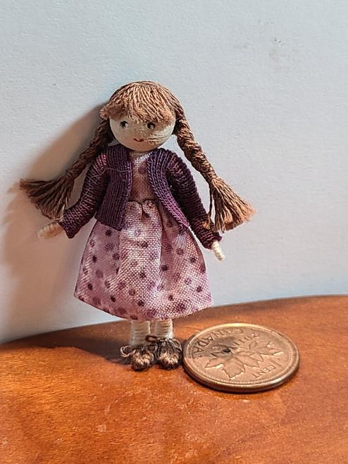 Brunette  Bead Head Doll by Adora Bella Minis, UK
