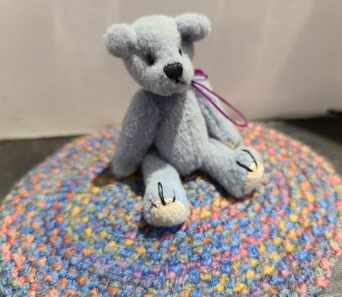 Miniature  Teddy Bear on Blue Rug
