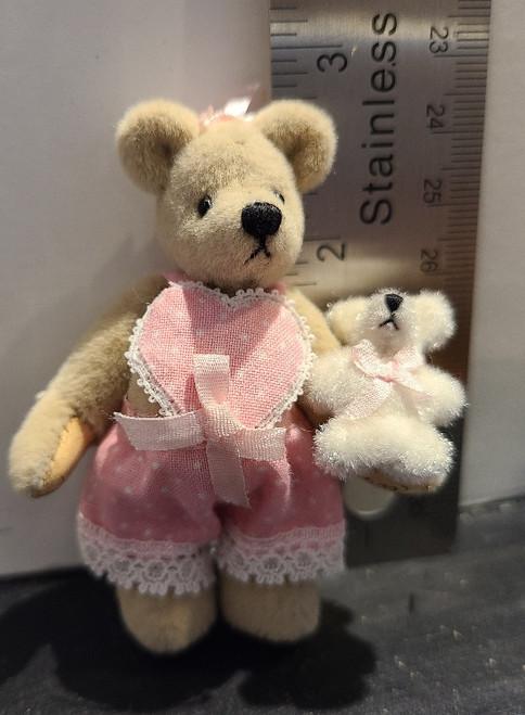 Miniature  Teddy Bear - Girl with Baby Bear