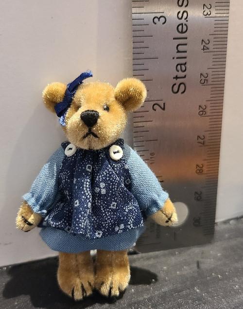 Miniature  Teddy Bear - Girl in Blue Dress