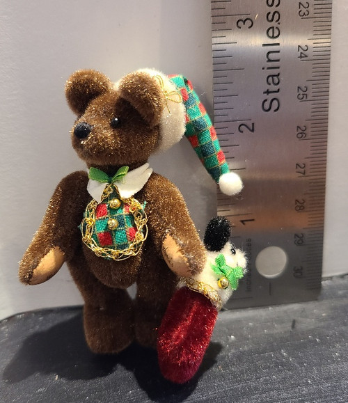 Miniature  Teddy Bear - Christmas Bear with Stocking Bear