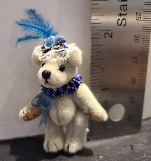 Miniature  Teddy Bear in Fancy Hat