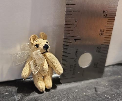 Tiny Miniature  Teddy Bear - Ivory Suede
