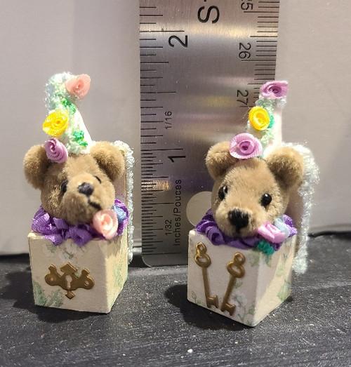 ONE Miniature  Teddy Bear  Jack-in-the-Box (No Choice)