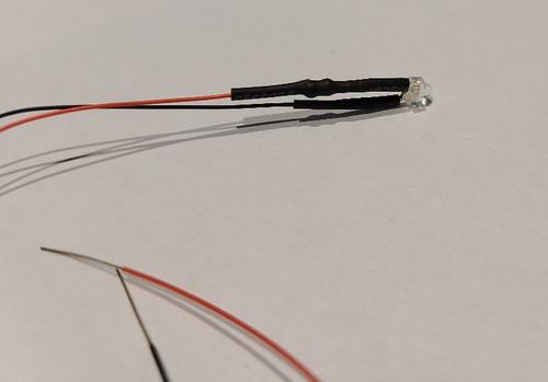 "9 volt 1.8 mm LED Bulb -  Warm White - 8"" Wire"