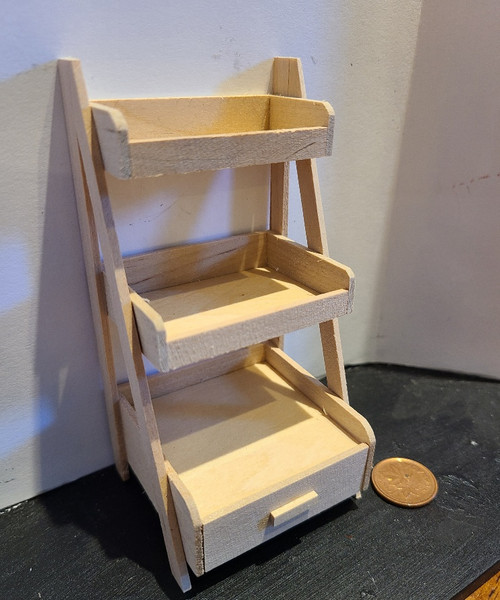 3 Tiered Wooden Display Rack with Drawer