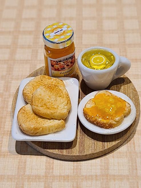 Miniature Peach Jam on Toast Breakfast