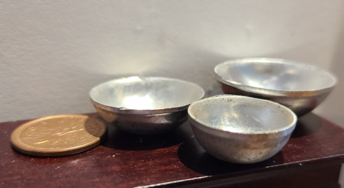 Set of 3 Metal Bowls - 1/12 Scale