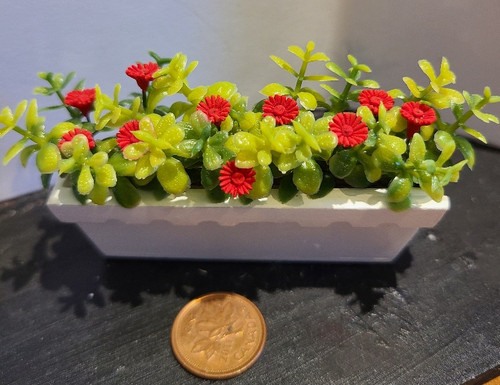 Filled Flower Window Box - Red