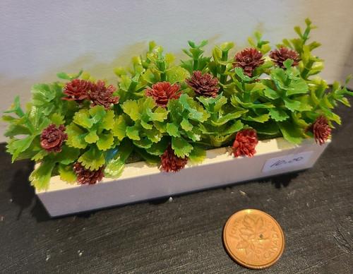 Filled Flower Window Box - Burgandy Flowers