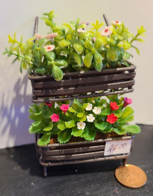 1/12 Scale Filled Flower Cart