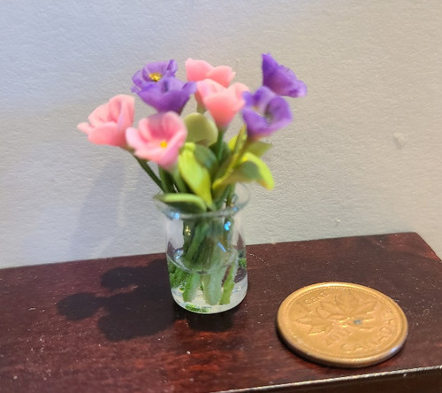 1/12 Scale Glass Vase of Flowers in Water
