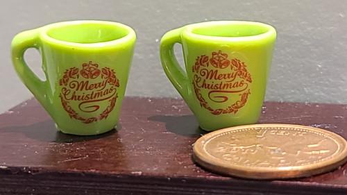Miniature Mugs - Merry Christmas Wreath