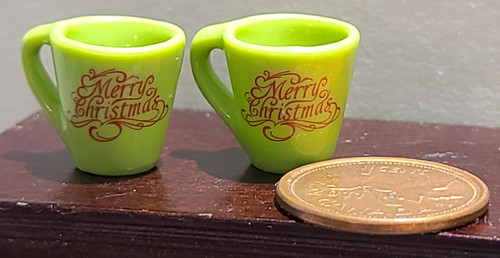 Green Miniature Mugs - Merry Christmas