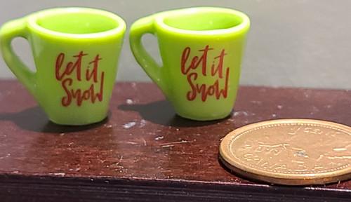 Green Miniature Mugs - Let it Snow