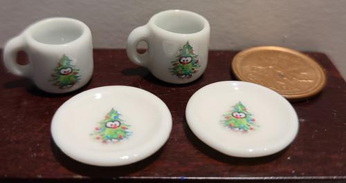 Miniature Christmas Mugs & Plates - Penguin Hiding in Christmas Tree