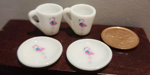 Miniature Mugs & Plates - Flamingo