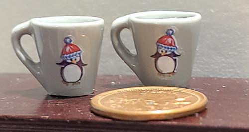 Grey Miniature Mugs - Christmas Penguin