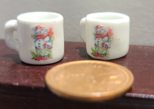 Miniature Christmas Mugs - Fancy Snowman