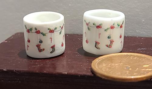 Miniature Christmas Mugs - Stockings on a String